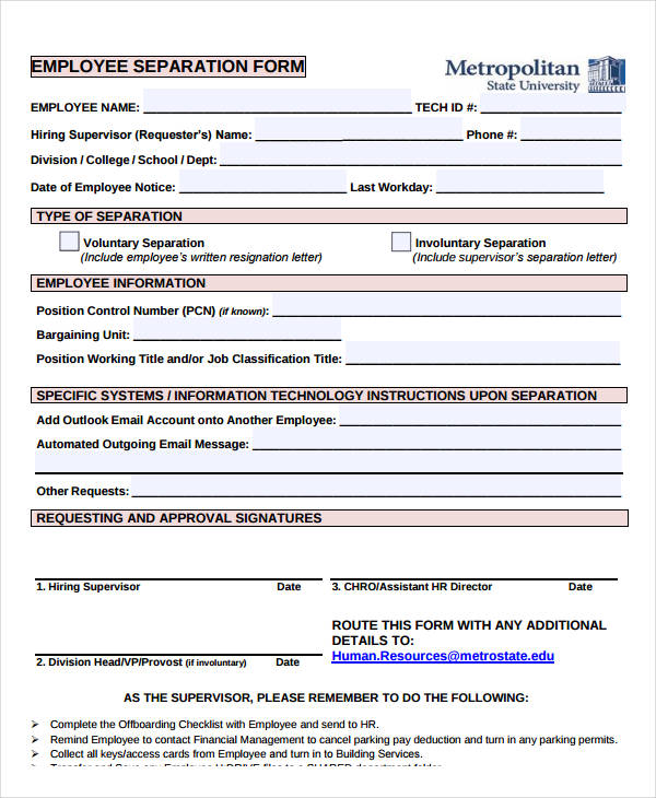 printable employee separation form