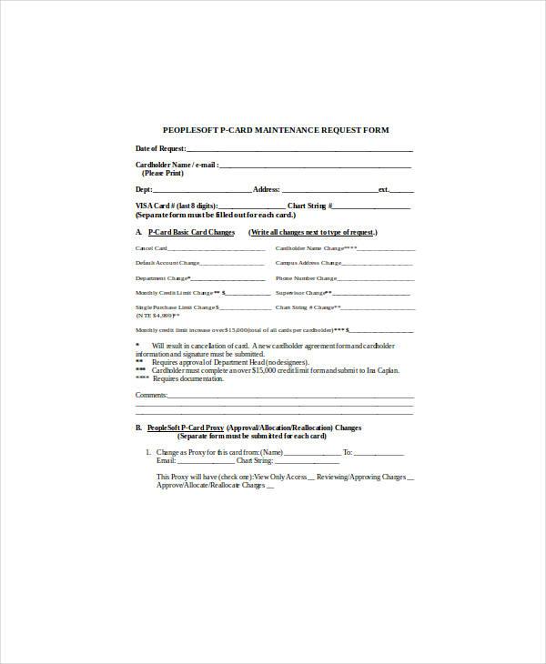 printable procurement maintenance request form