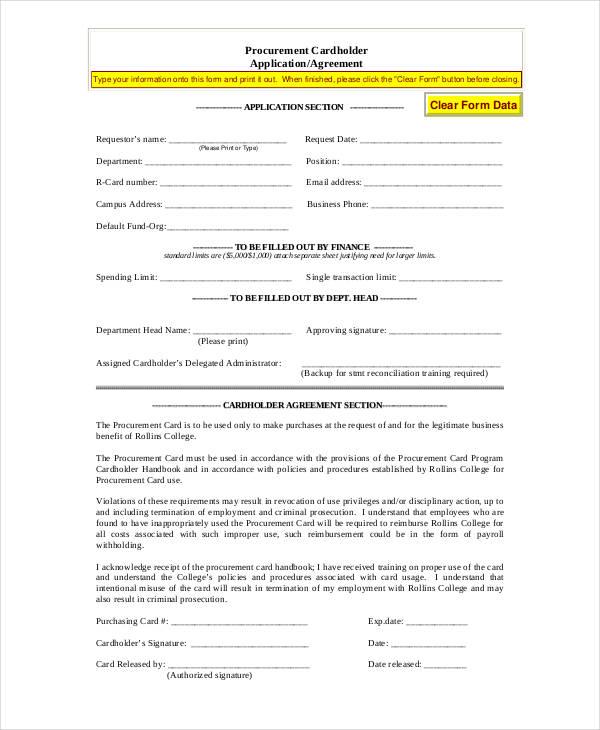 procurement card application agreement form