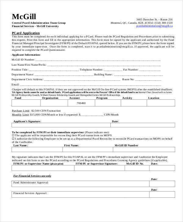 procurement card application form