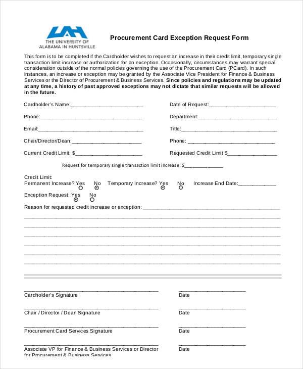 procurement card exception request form