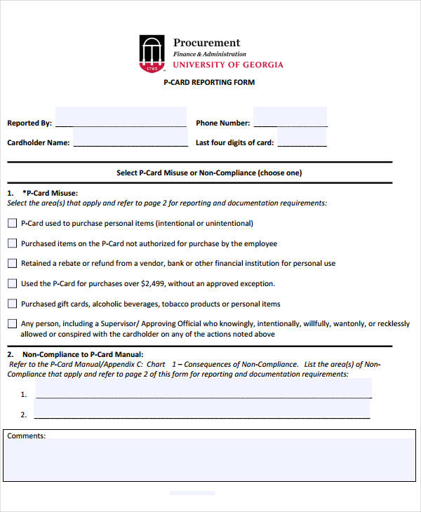 procurement reporting card form