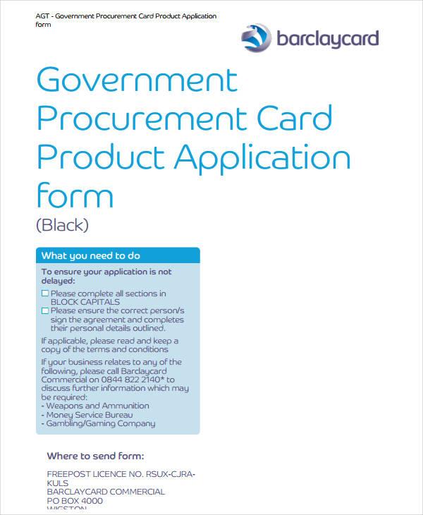 product procurement card form