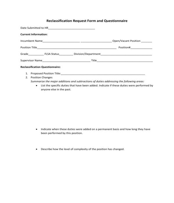 reclassification request questionnaire form