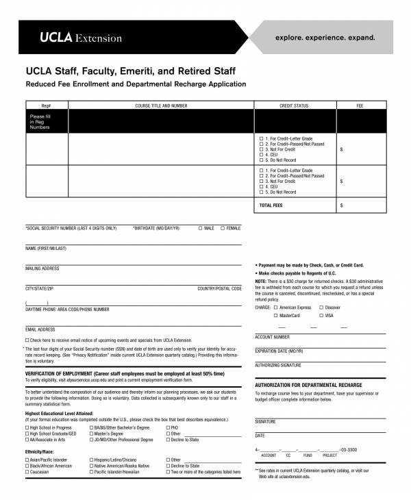 reduced fee enrollment departmental recharge application form
