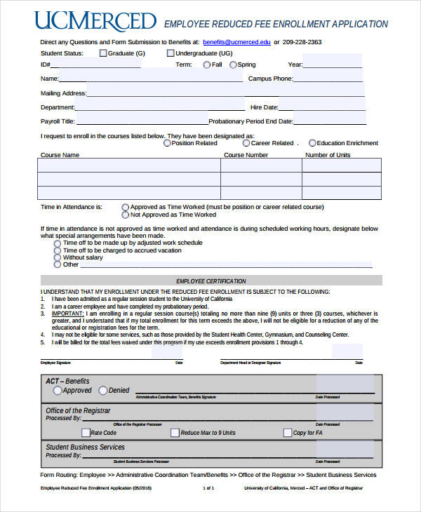 simple employee reduced fee enrollment application form
