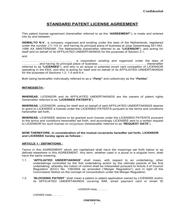 standard patent license agreement form