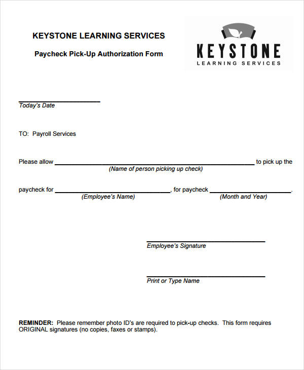 standard paycheck pick up authorization form