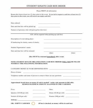 student cash box order form1