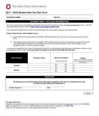 student non tax filer form1