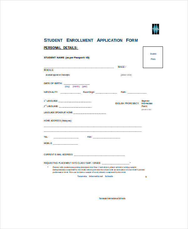 student reduced fee enrollment application form
