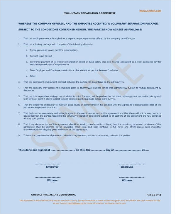 voluntary separation agreement form