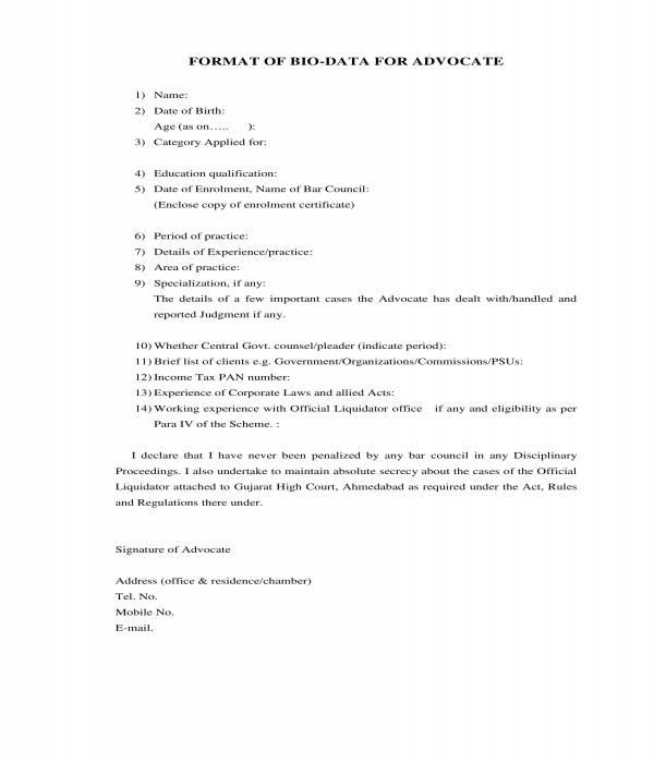 advocate bio data form