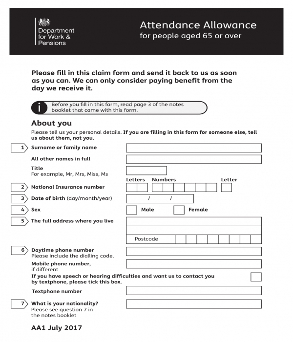 attendance allowance form template