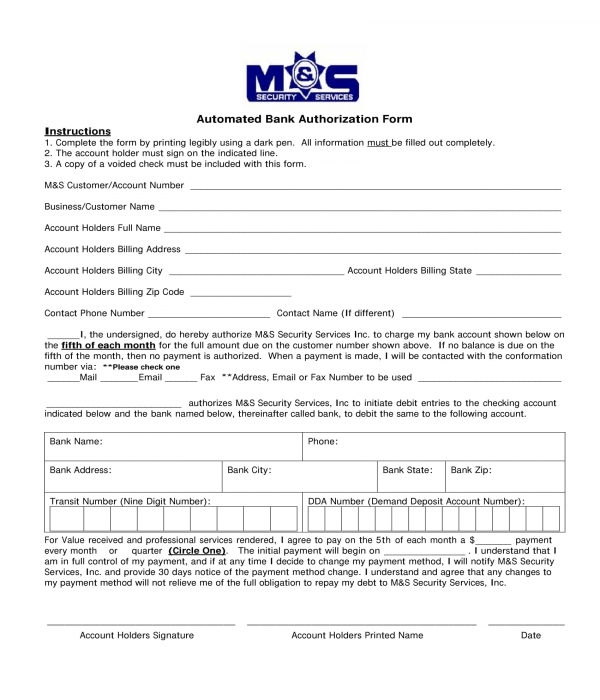 automated bank authorization form