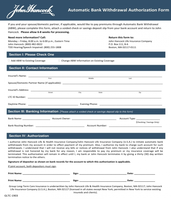 automatic bank withdrawal authorization form