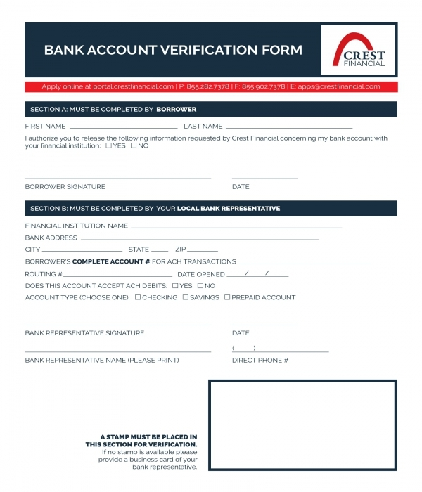 bank account verification form