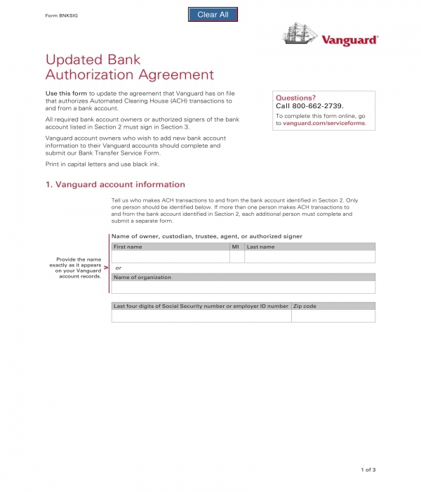 bank authorization agreement form