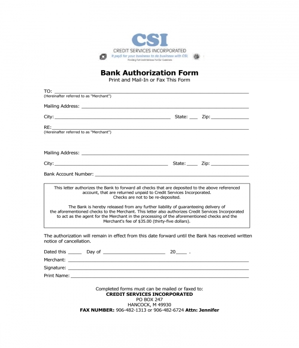 bank authorization form sample