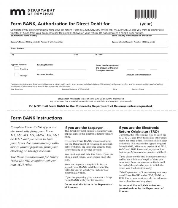 bank authorization for direct debit form
