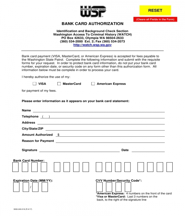 bank card authorization form