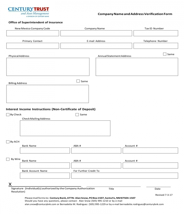 bank company verification form