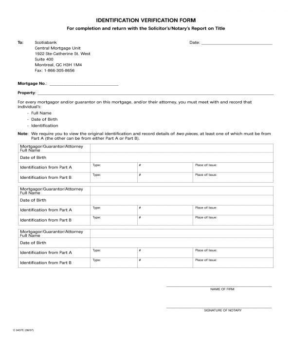 bank identification verification form