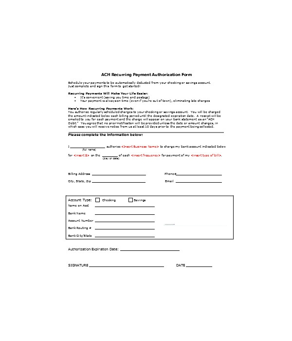 bank payment authorization form