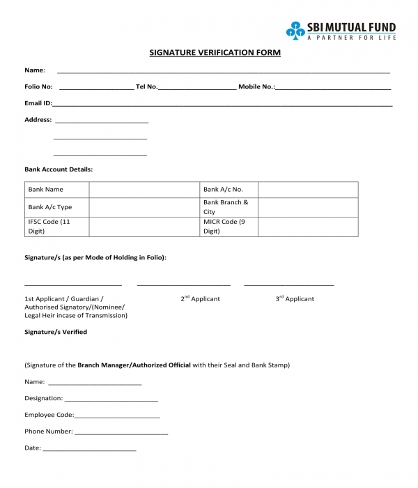 bank signature verification form