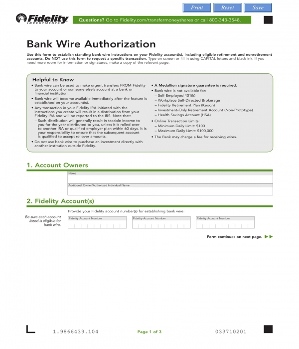 bank wire authorization form