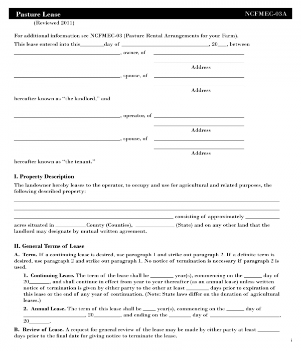basic pasture lease agreement form