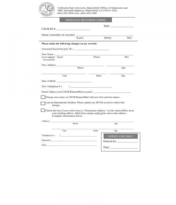bio data revision form