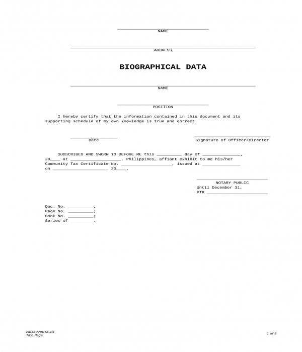 biodata form in xls
