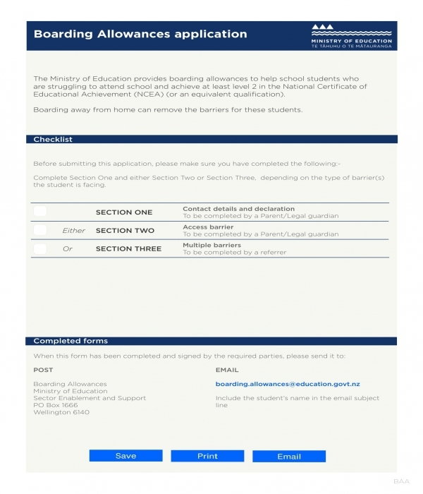 boarding allowance application form template