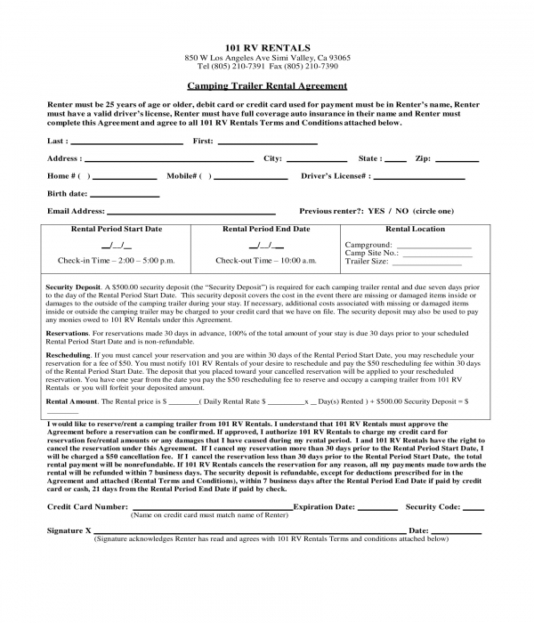 camping trailer rental agreement form