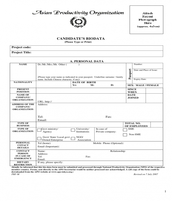candidate bio data form
