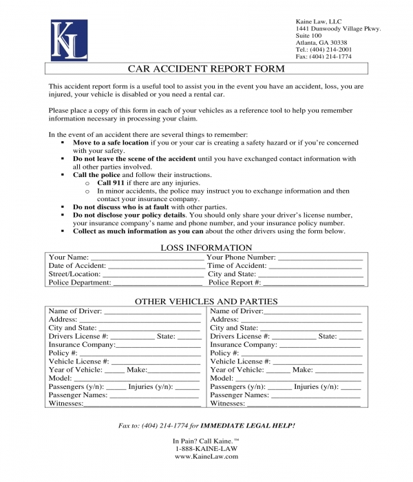 car accident report form sample
