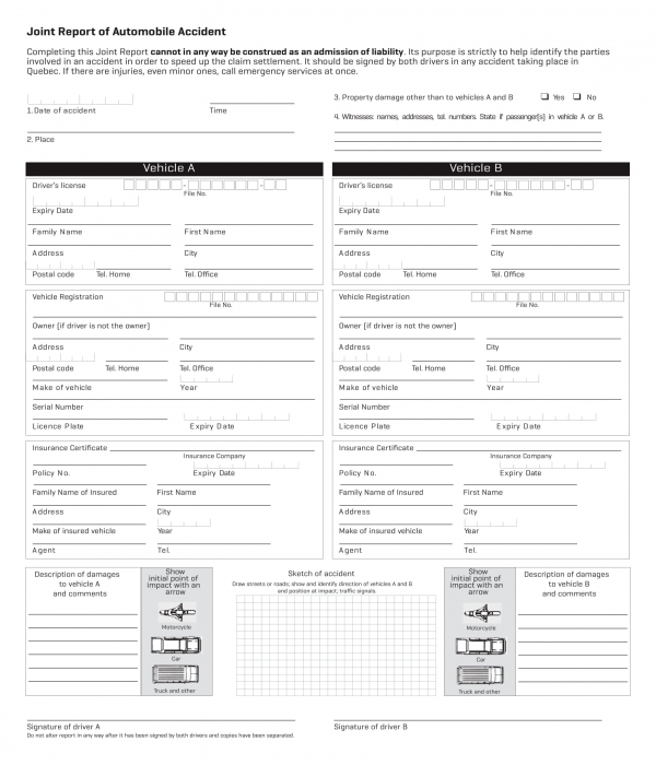 car automobile accident joint report form