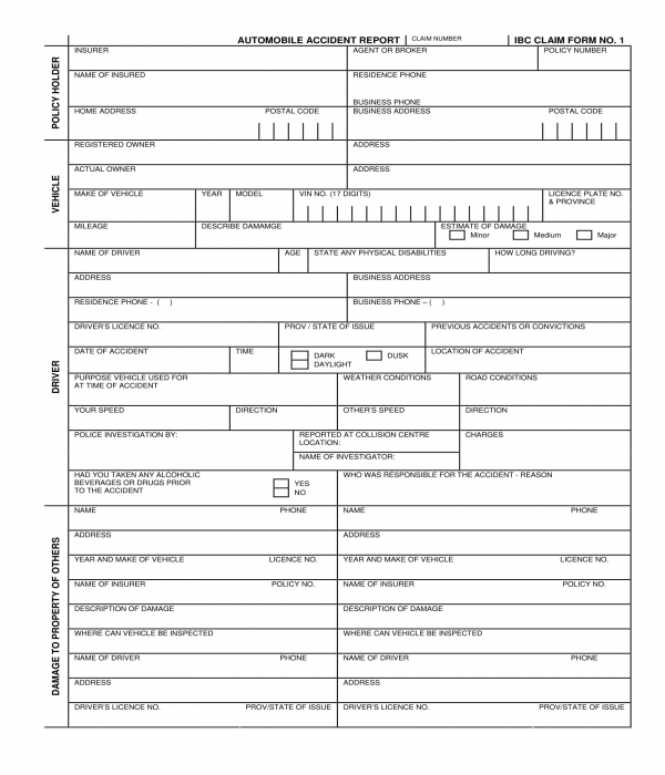car automobile accident report form