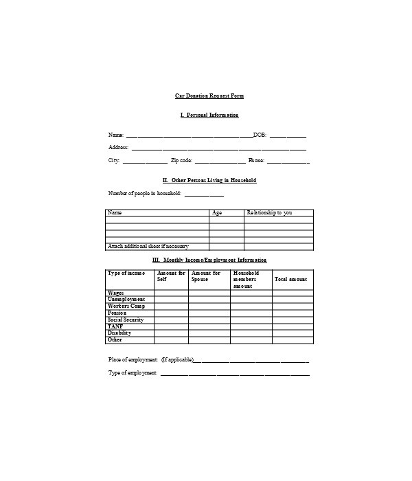 car donation request form