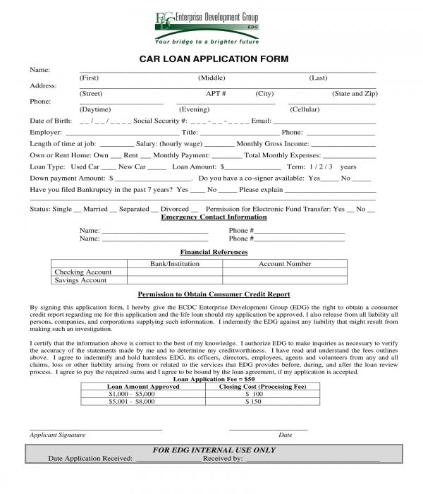 car loan application form sample