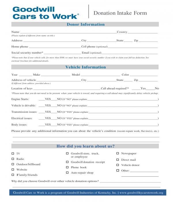 car vehicle donation intake form