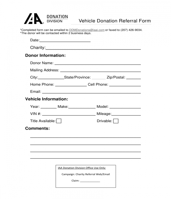 car vehicle donation referral form