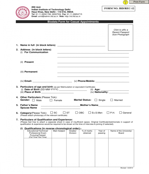 casual appointment bio data form