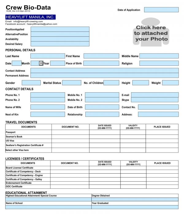 crew bio data form