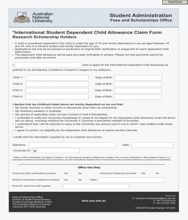 dependent child allowance claim form template