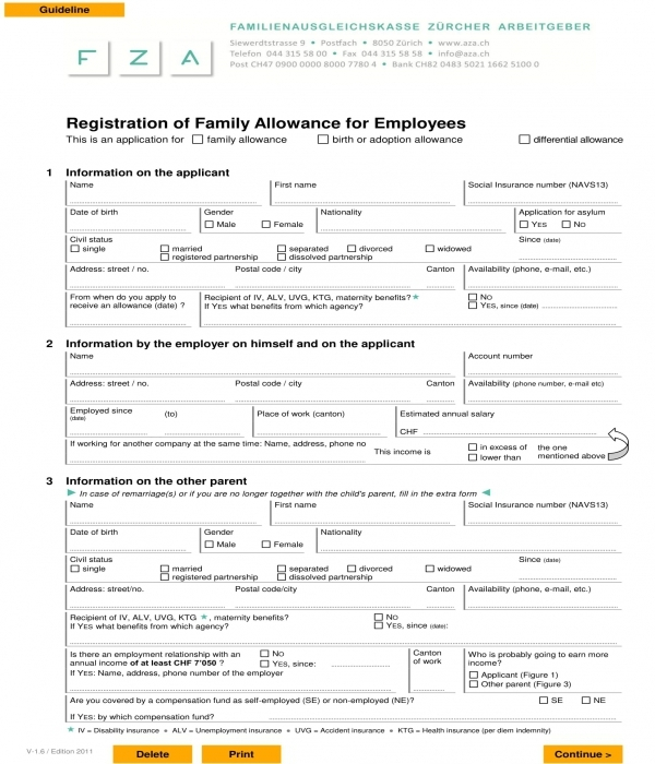 employee family allowance registration form