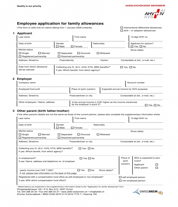 employee family allowances application form
