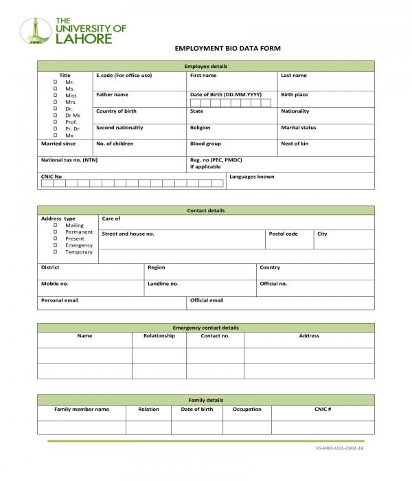 employment biodata form