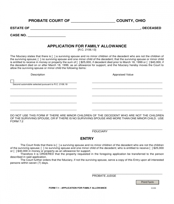 family allowance application form sample